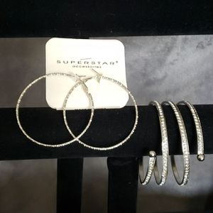 Rhinestone Hoop Earrings & Cuff Bracelet Set